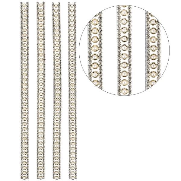 Premium-Schmuck-Bordüren, Bracelet 12, selbstklebend, 29cm, Glaskristallen, Halbperlen, hellgold