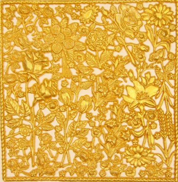 Wachsornament-Platte Rosen, 16 x 16 cm, sommergold