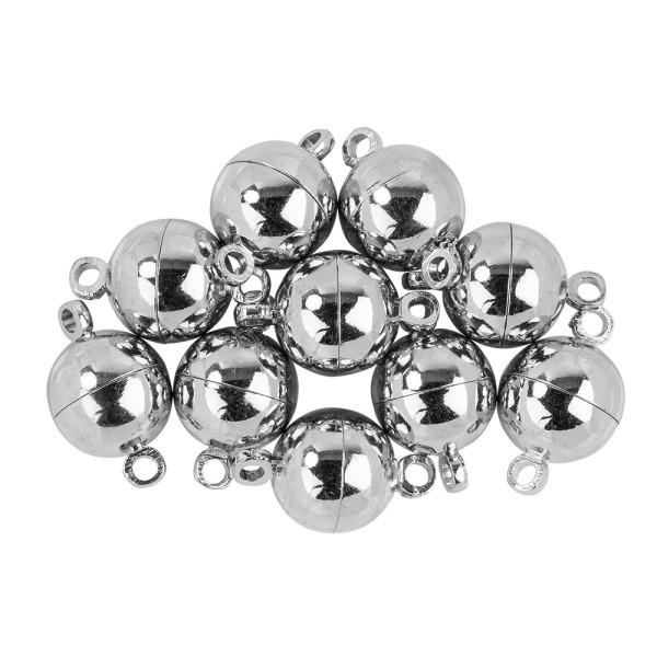 Magnetverschlüsse Kugel, Ø 0,9cm 1,5cm lang (inkl. Ösen), silber, 10 Stück