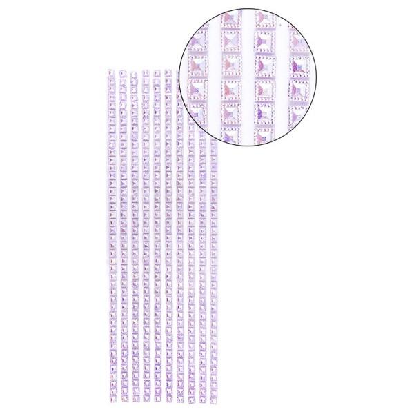 Schmuckstein-Bordüren, selbstklebend, facettiert, irisierend, Quadrate 6 x 6 mm, 29 cm, violett
