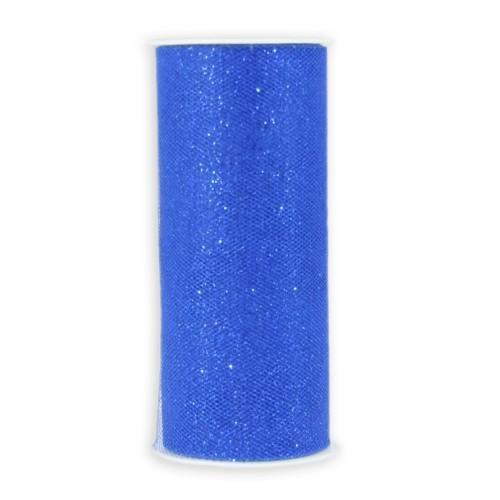 Deko-Tüll-Band mit Glimmer, 12 cm x 5 m, blau
