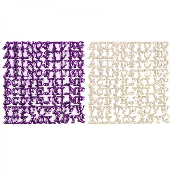 Wachsornament-Platten, Großbuchstaben, 6 Stück, perlmutt & violett