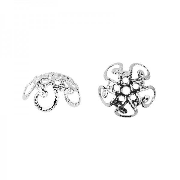 Perlenkappen, Design 2, für Perlen mit Ø10mm, silber, 20 Stück
