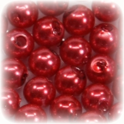 Perlen, rund, Ø6 mm, rot, 50 Stück