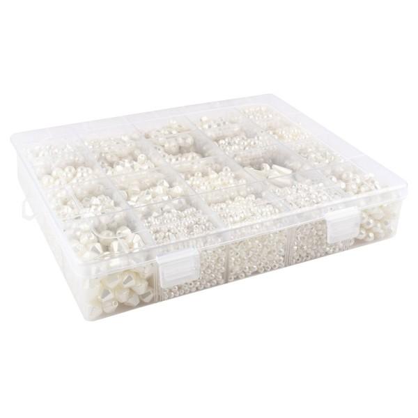 Perlen-Vielfalt in Kunststoff-Box, verschiedene Perlensorten, 500g, perlmutt, creme