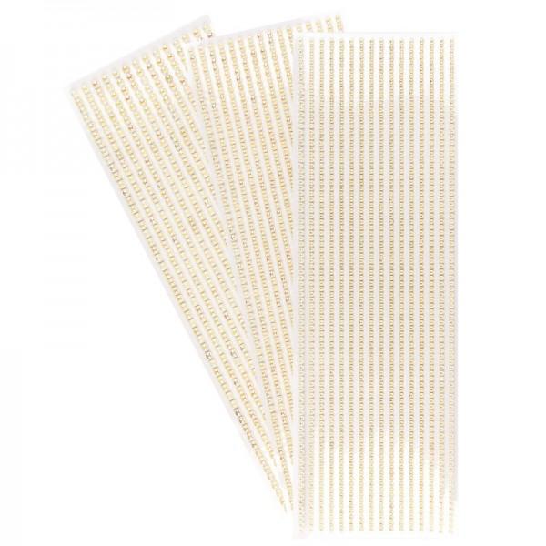 Halbperlen-Bordüren, rund: Ø 3mm, Ø 4mm, Ø 5mm, selbstklebend, creme-irisierend, 3 Bogen