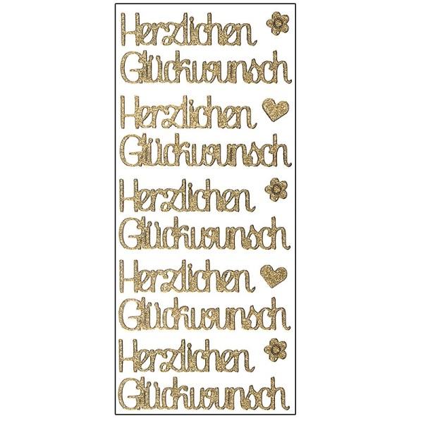Microglitter-Sticker, Herzlichen Glückwunsch, gold