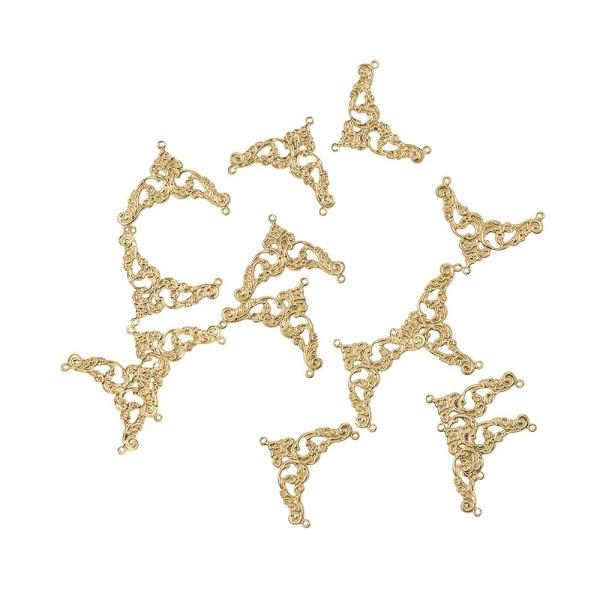 Metall-Ornamente, Design 41, 3,9cm x 3cm, hellgold, 14 Stück
