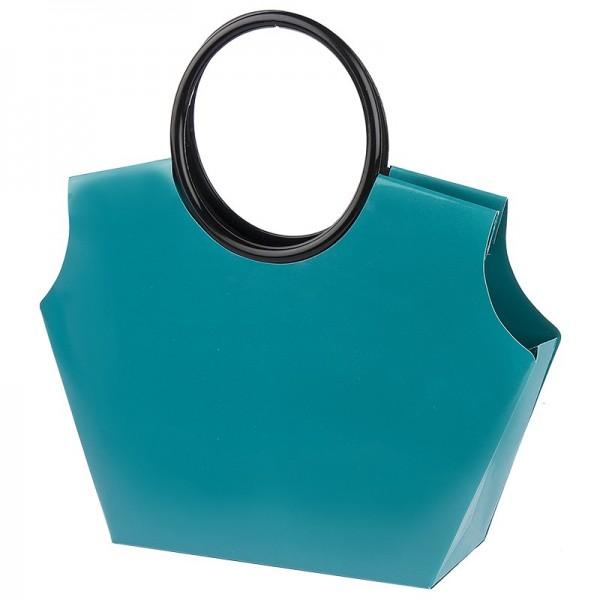 Lack-Taschen mit Henkeln, Stanzformen, Lackpapier, türkis, 21,5cm, 5 Stück