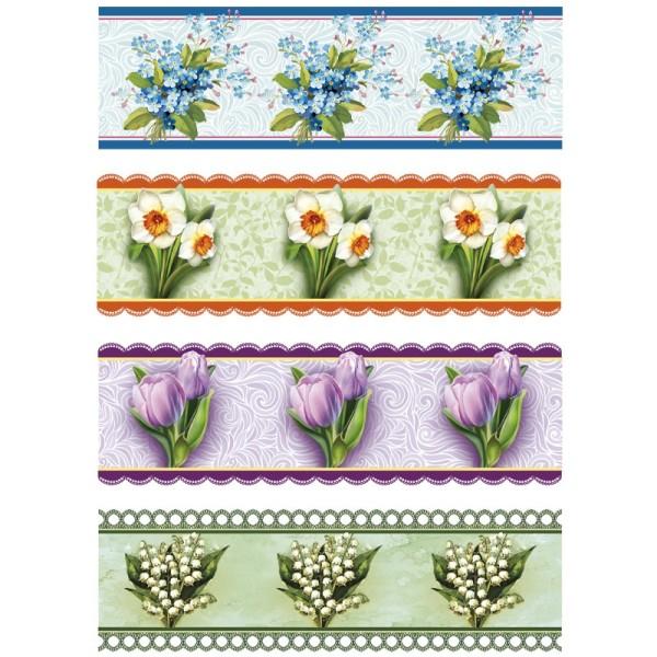 "Ei-Zauberfolien ""Frühlingsblumen"", Schrumpffolien, 4 Designs, 12er Set"
