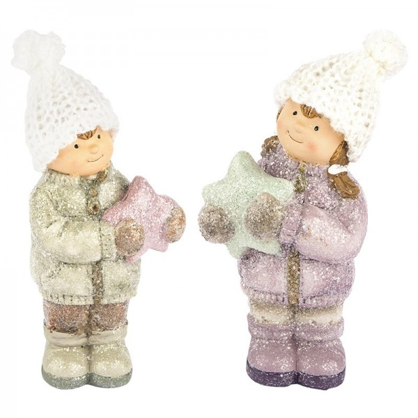 Deko-Figuren, Winterkinder, 15cm hoch, 2 Stück