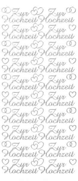 Sticker, Schrift, Zur Hochzeit, silber
