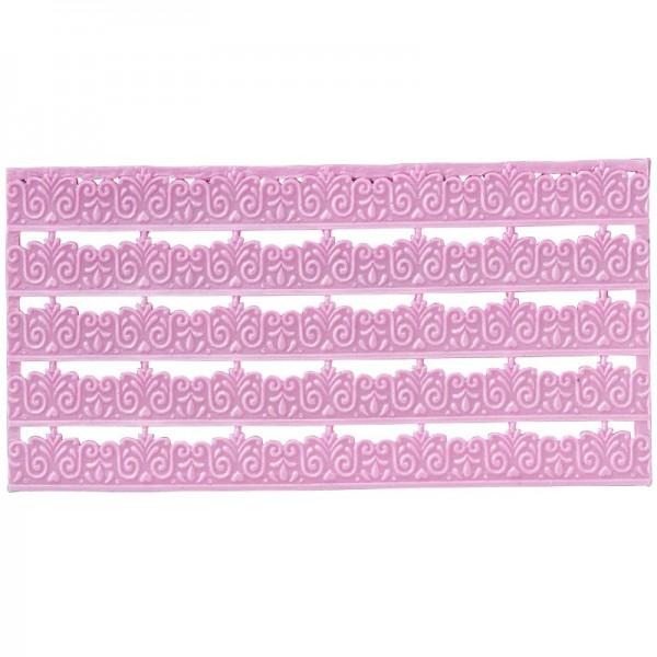 Wachs-Bordüren auf Platte, Spitze, geprägt, flieder, 20cm, 5 Stück