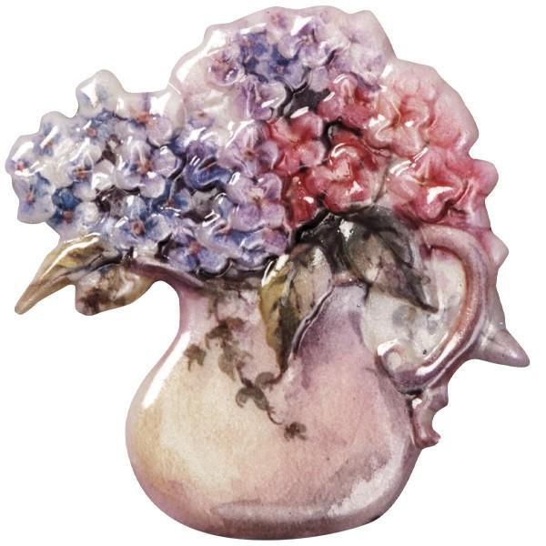 Wachsornament Blumenvasen 6, farbig, geprägt, 7cm