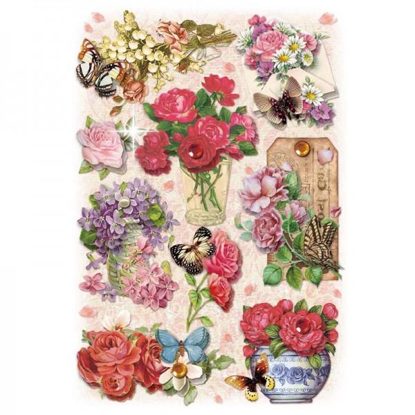 3-D Stickerbogen, Gartenblumen 5, 12,7 x 18,8 cm