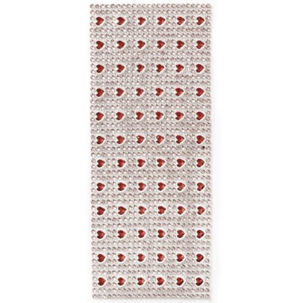 Schmuck-Netz, selbstklebend, 12 x 30 cm, rot/Herzen