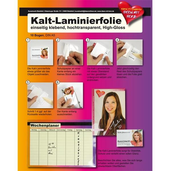 Kalt-Laminierfolie, DIN A5, High-Gloss, 10 Bogen