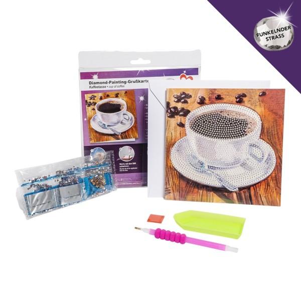 Diamond-Painting-Grußkarte, Strass, Kaffeetasse, 16cm x 16cm, inkl. Umschlag & Werkzeug