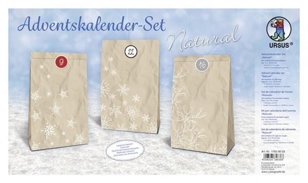 """Adventskalender-Set """"Natural"""", 24 Geschenktüten, 12cm x 19cm x 6cm, Stickerbogen mit Zahlen"""