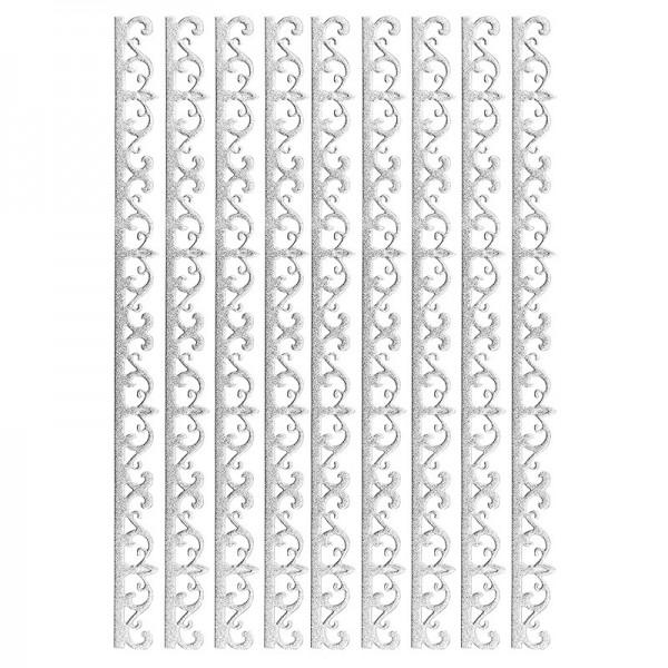 3-D Sticker-Bordüren, Deluxe Ornament 2, selbstklebend, silber