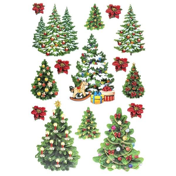 3-D Relief-Sticker, Weihnachtsbäume, verschiedene Größe, selbstklebend
