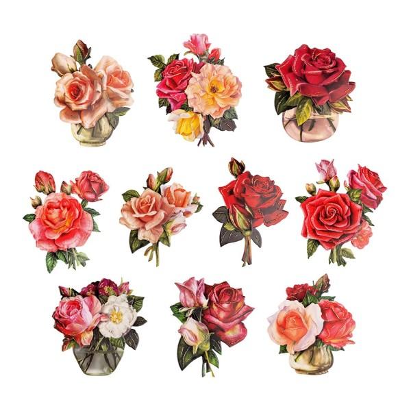 3-D Motive, Edle Rosensträuße, 6,5-9,5cm, 10 Motive