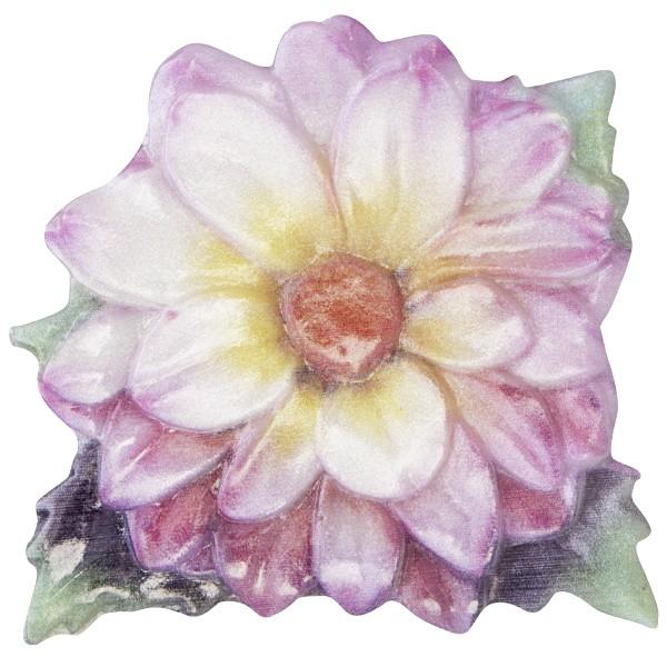 Wachsornament Blume 9, farbig, geprägt, 7cm