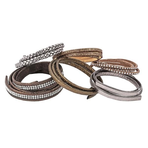 Schmuck Lederbänder, 50cm lang, verschiedene Designs, braun, 6 Stück