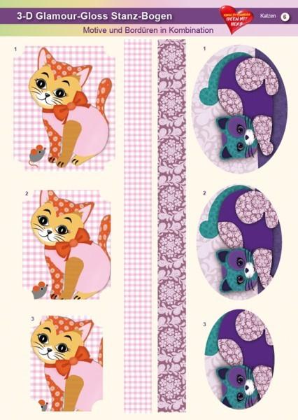 3-D GlamourGloss Bogen, Katzen, DIN A4, Motiv 6