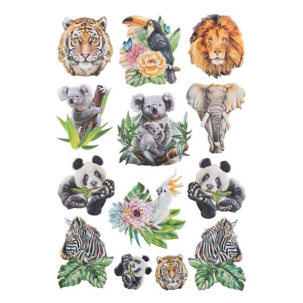3-D Relief-Sticker, Tiere 2, verschiedene Größen, selbstklebend
