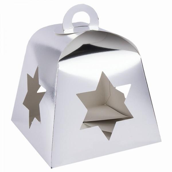 Faltboxen mit Stern-Ausstanzungen, geklebt, 17cm x 17cm x 13,5cm, Spiegelkarton, silber, 5 Stück