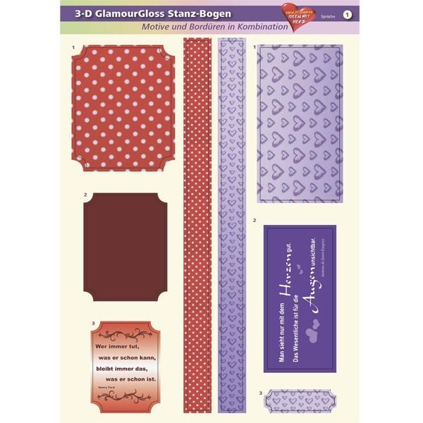 3-D GlamourGloss Bogen, Sprüche, DIN A4, Motiv 1