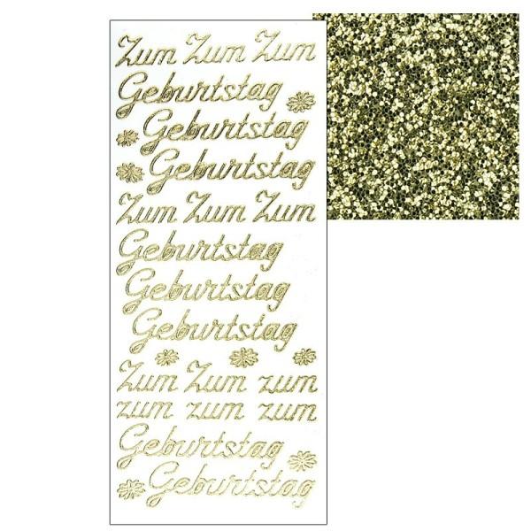 """Microglitter-Sticker, """"Zum Geburtstag"""", gold"""