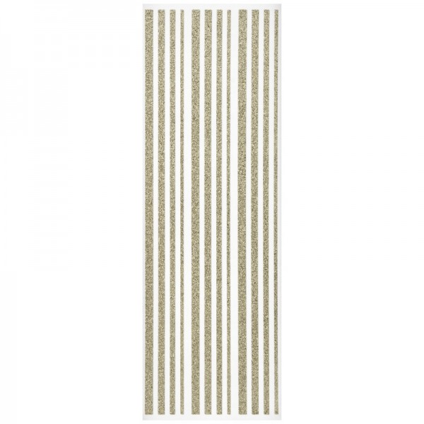 Glitzer-Bordüren, Sticker-Linien, 30 cm lang, 3-6 mm, gold