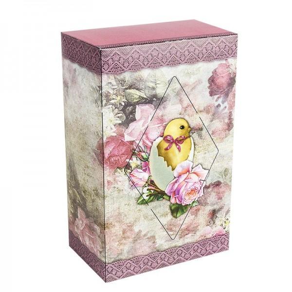 Geschenkbox Kaffee, Vintage, 18cm x 11cm x 7cm, rosa