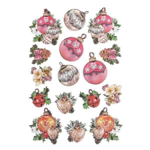 3-D Relief-Sticker, Weihnachts-Baumschmuck 5, verschiedene Größen, selbstklebend