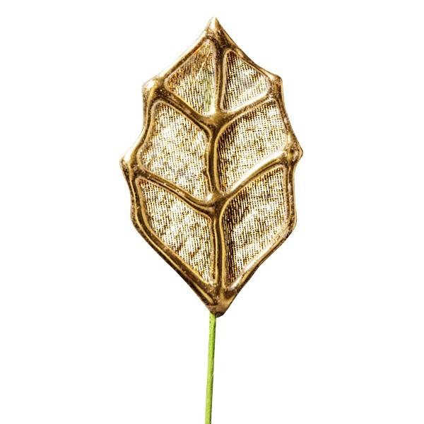 Deko-Blatt mit Drahtstiel, 4er Set, gold