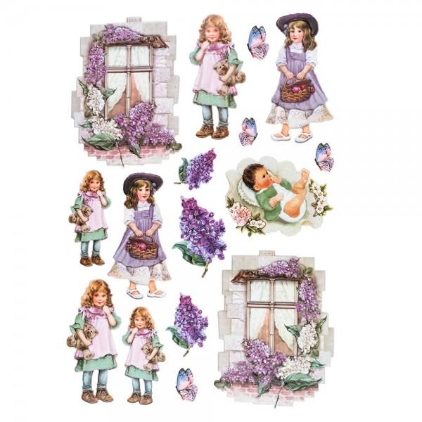 3-D Relief-Sticker, Nostalgie-Kindermotive 4, verschiedene Größen, selbstklebend