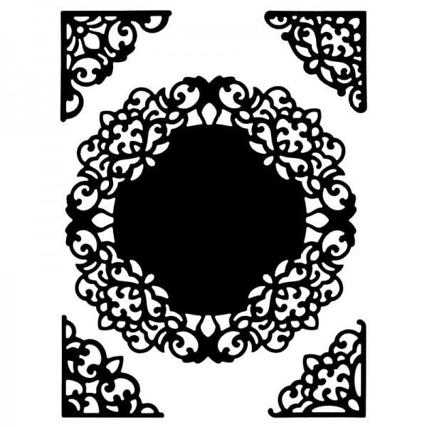 Präge- & Stanzschablonen, Zierdeckchen & -ecken, 5 Stück
