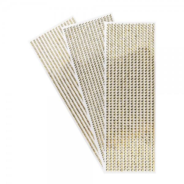 Schmuckstein-Bordüren, metallic, 10cm x 30cm, verschiedene Größen, facettiert, hellgold, 3 Bogen