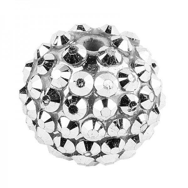 Kristall-Perlen, Ø 18mm, silber, 10 Stück
