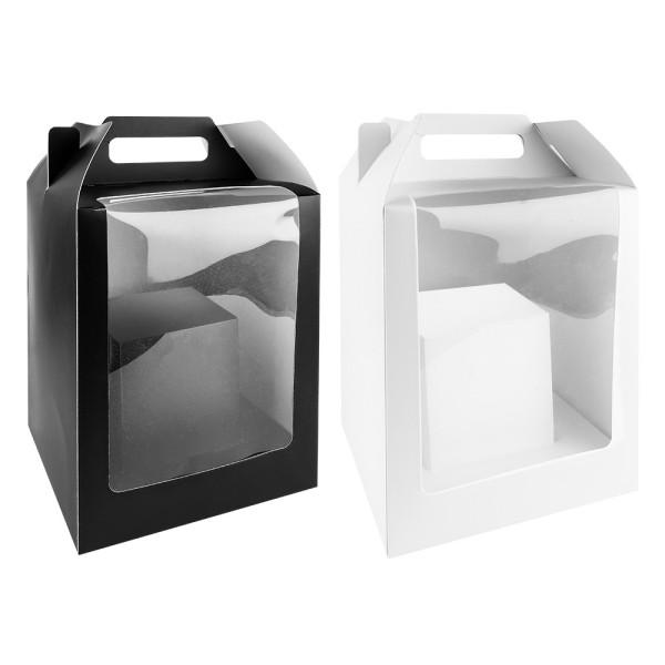 Geschenkboxen mit Folien-Sichtfenster, 31cm x 19cm x 19cm, 360g/m², 1x weiß, 1x schwarz, 2 Stück