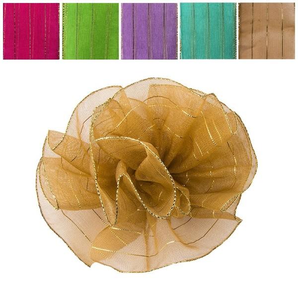 Zieh-Rüschenband, Organza mit Goldfäden, Pastell-Farben, 1m x 3,8cm, 10 Stück