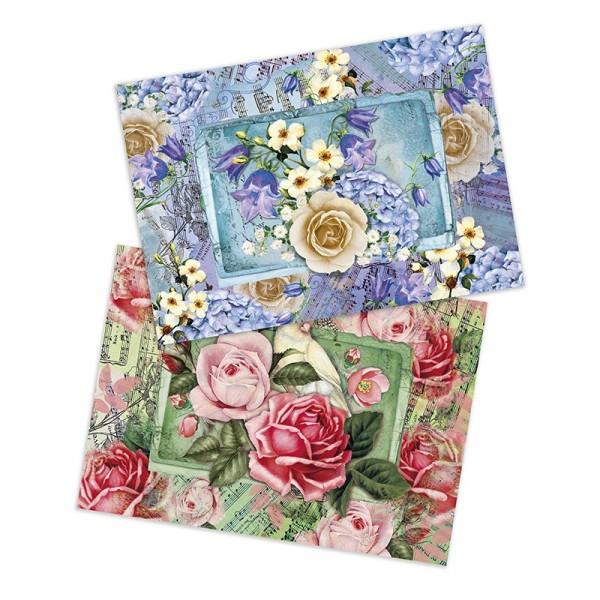 """Reispapiere """"Blütenzauber"""", DIN A4, 2 Designs"""