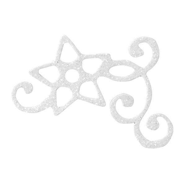 Glitzer-Ornamente, 25er Set, 4,5x5,5cm, Stern 3, weiß-irisierend