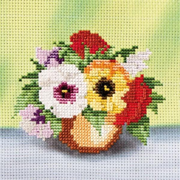Stickbild-Set, malerischer Hintergrund,  14,5x14,5cm, Blumen
