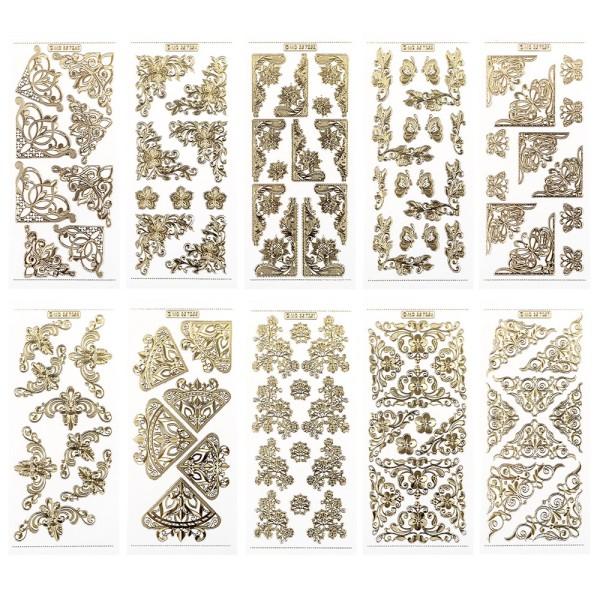 Gravur-Sticker, Eck-Ornamente, transparent/gold, 10 Bogen