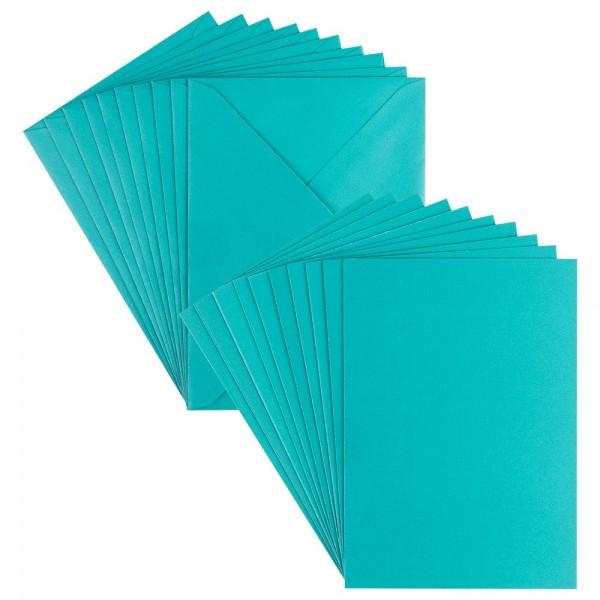Grußkarten, Perlmutt, B6 (11,5cm x 16,5cm), petrol, inkl. Umschläge, 10 Stück