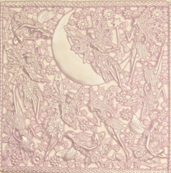 Wachsornament-Platte Elfen, 16 x 16 cm, flieder patiniert