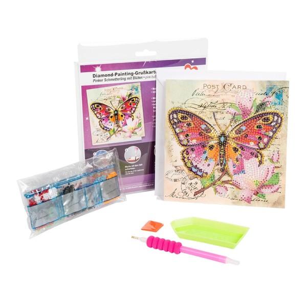 Diamond-Painting-Grußkarte, Pinker Schmetterling, 16cm x 16cm, inkl. Umschlag & Werkzeug
